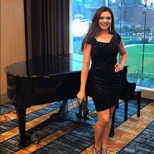 Jessica Simpson Black Sequin Cocktail Dress